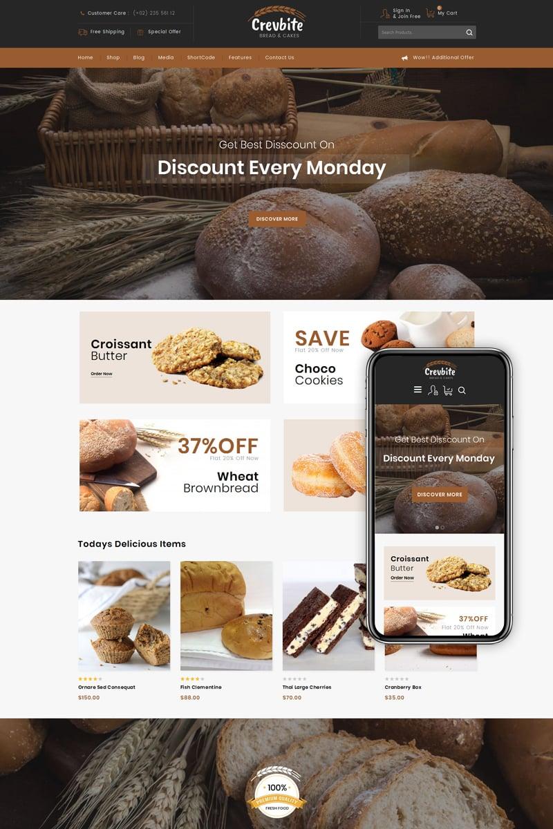 """""""Crevbite - Bakery & Chocolate Store"""" Responsive WooCommerce Thema №79584"""
