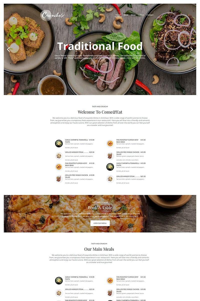 """Crunchos - Restaurant"" Moto CMS HTML模板 #79545"
