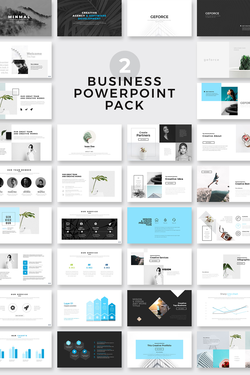 Geometric Minimal Presentation Pack Powerpoint Template  79530