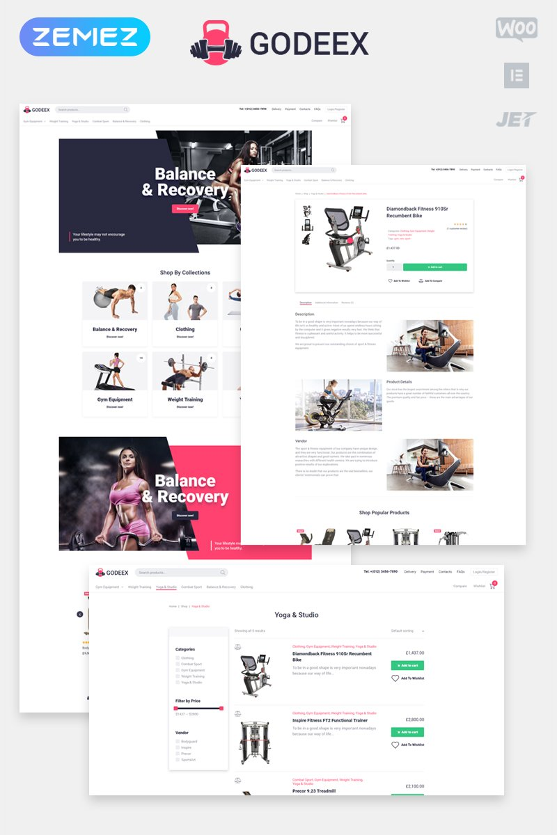 Godeex - Sports Gear ECommerce Modern Elementor WooCommerce Theme