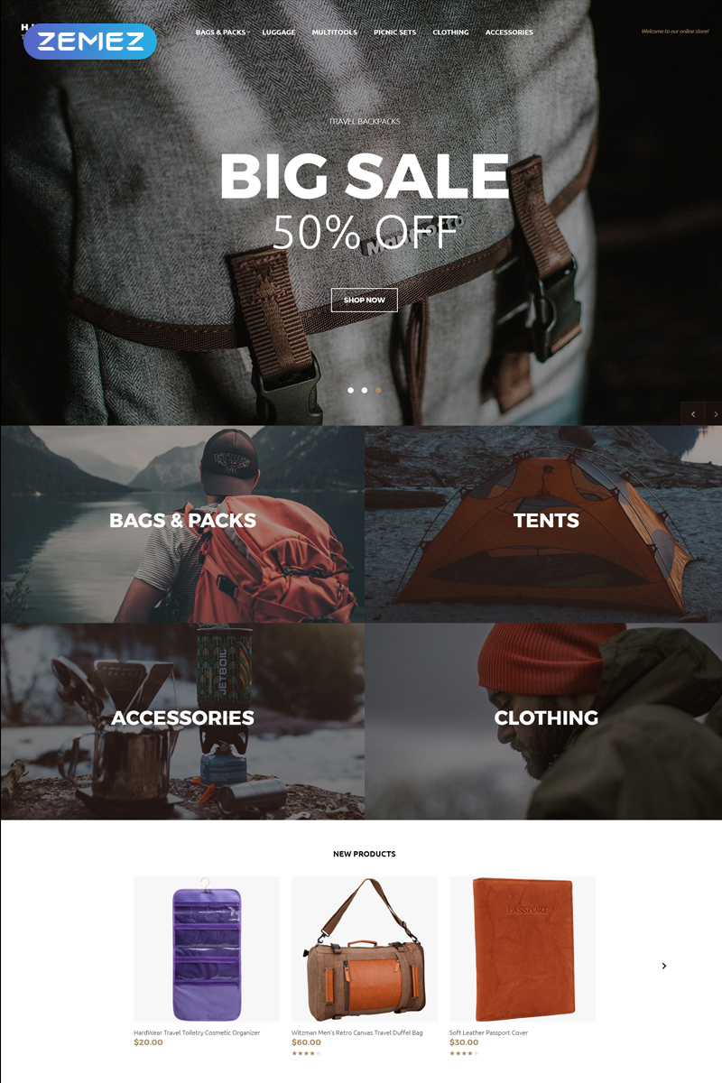 """Hiker Way - Travel Store Multipage Modern"" Responsive OpenCart Template №79558 - screenshot"