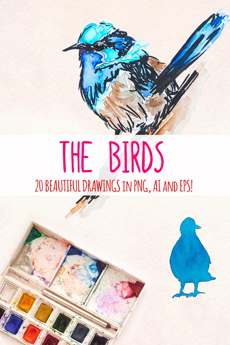 "Ilustración ""20 Colourful Watercolor Bird Graphics"" #79575 - captura de pantalla"
