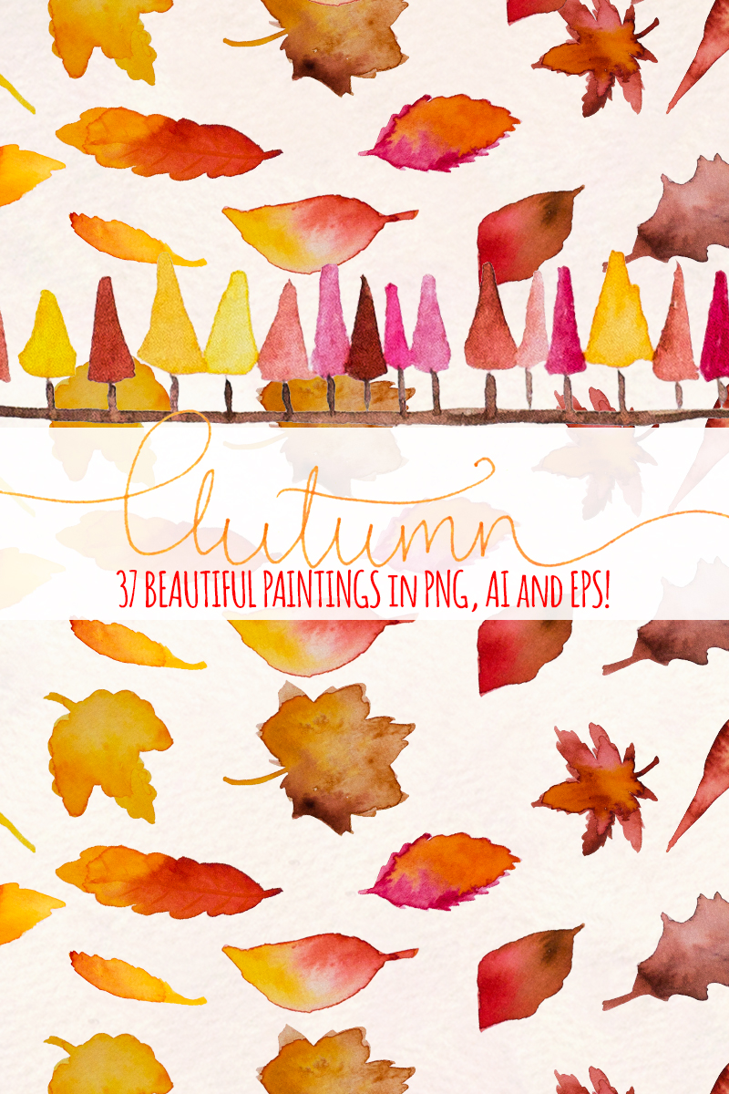 "Ilustración ""37 Autumn Seasonal Watercolor"" #79590 - captura de pantalla"