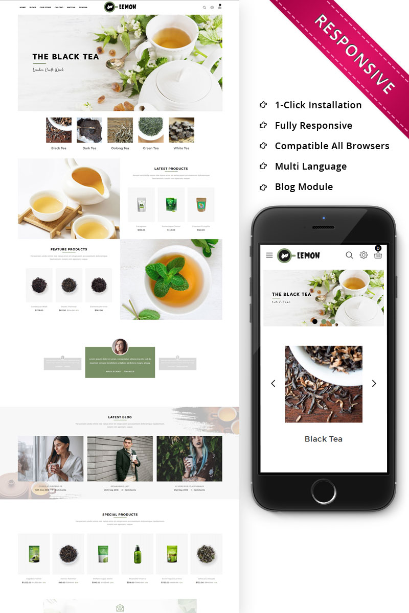Lemon - Beverage Store Responsive OpenCart Template