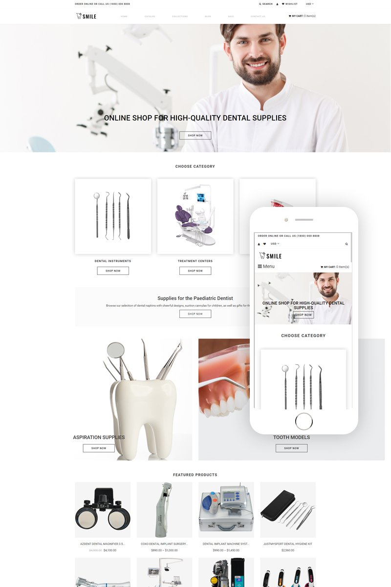 """Modello Shopify Responsive #79523 """"Smile - Dentistry eCommerce Clean"""""""