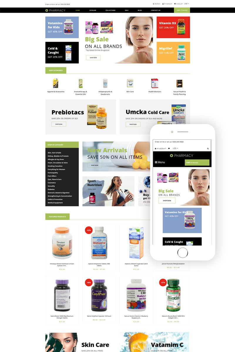 """Pharmacy - Drug Store eCommerce Clean"" 响应式Shopify模板 #79598"