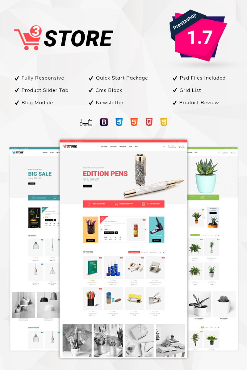 Responsivt 3Store - Multipurpose PrestaShop-tema #79587
