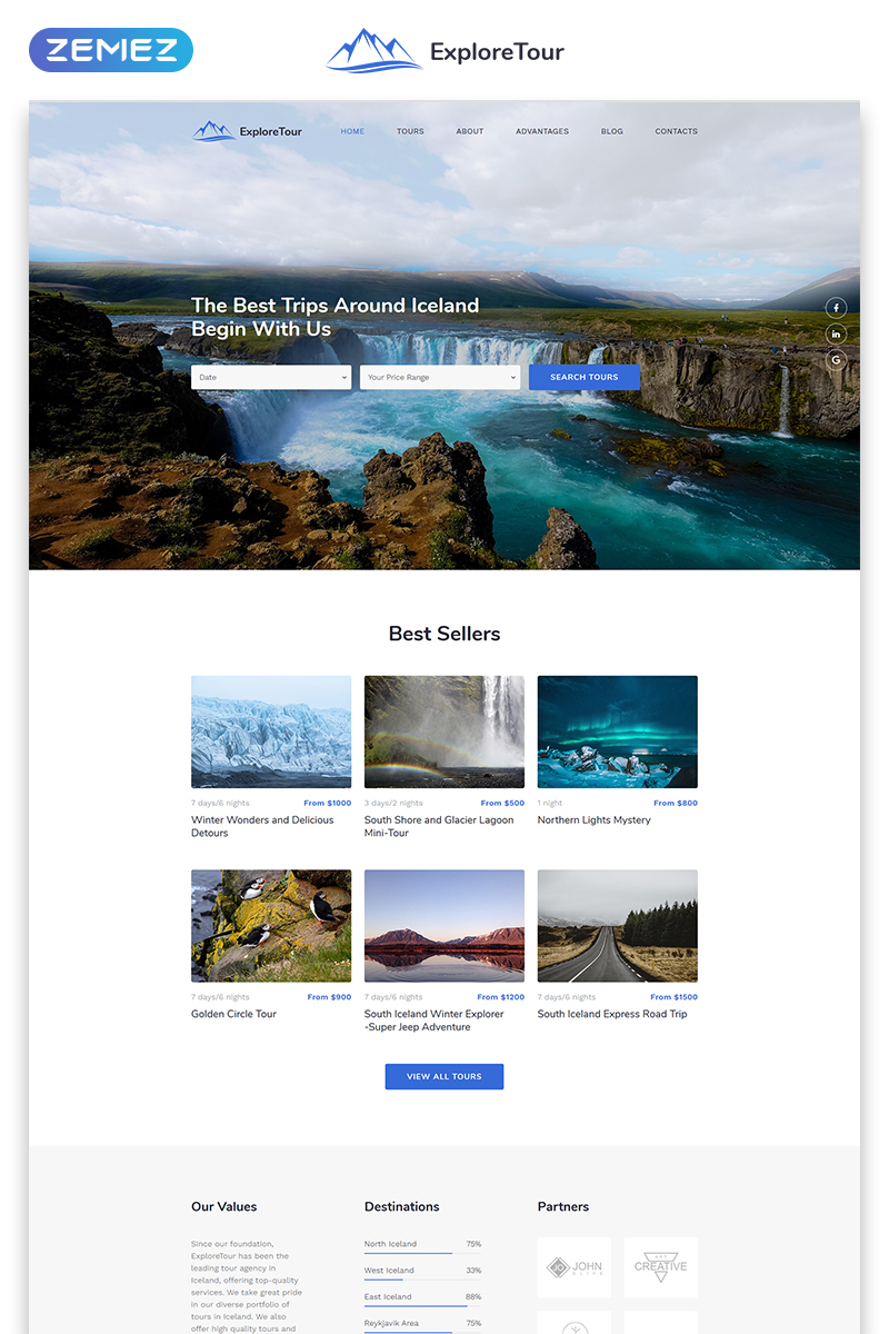 Responsivt Explore Tour - Travel Agency Modern HTML Landing Page-mall #79548