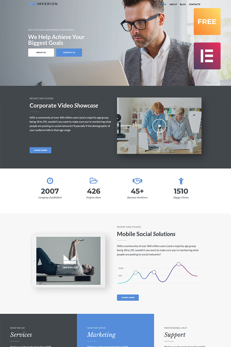 Responsivt Imperion Free - Multipurpose Corporate Elementor WordPress-tema #79536