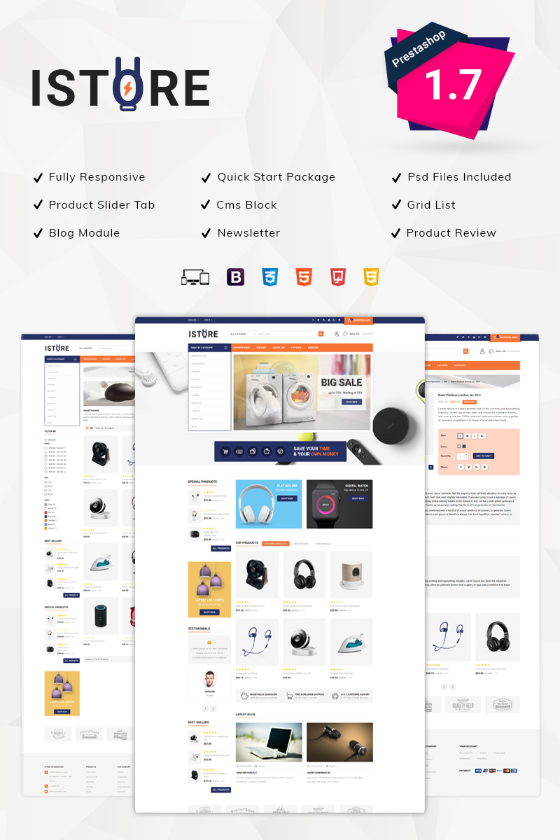 Responsivt iStore Electronics PrestaShop-tema #79565