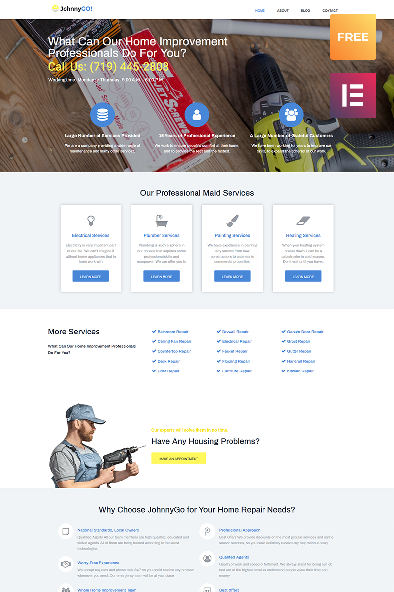 Responsivt JohnnyGo Lite - Multipurpose Home Services Elementor WordPress-tema #79537