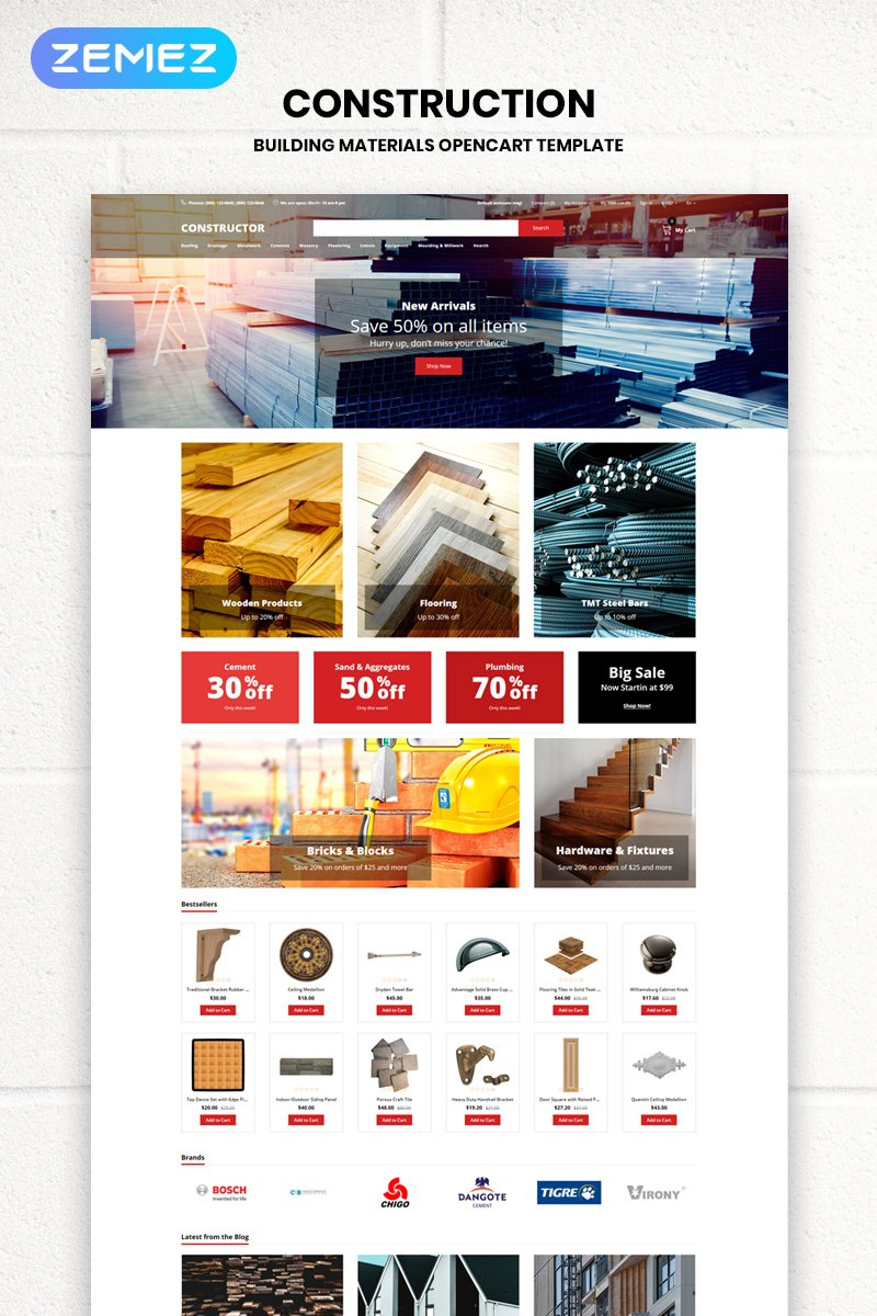 Reszponzív Constructor - Building Materials Creative OpenCart sablon 79526
