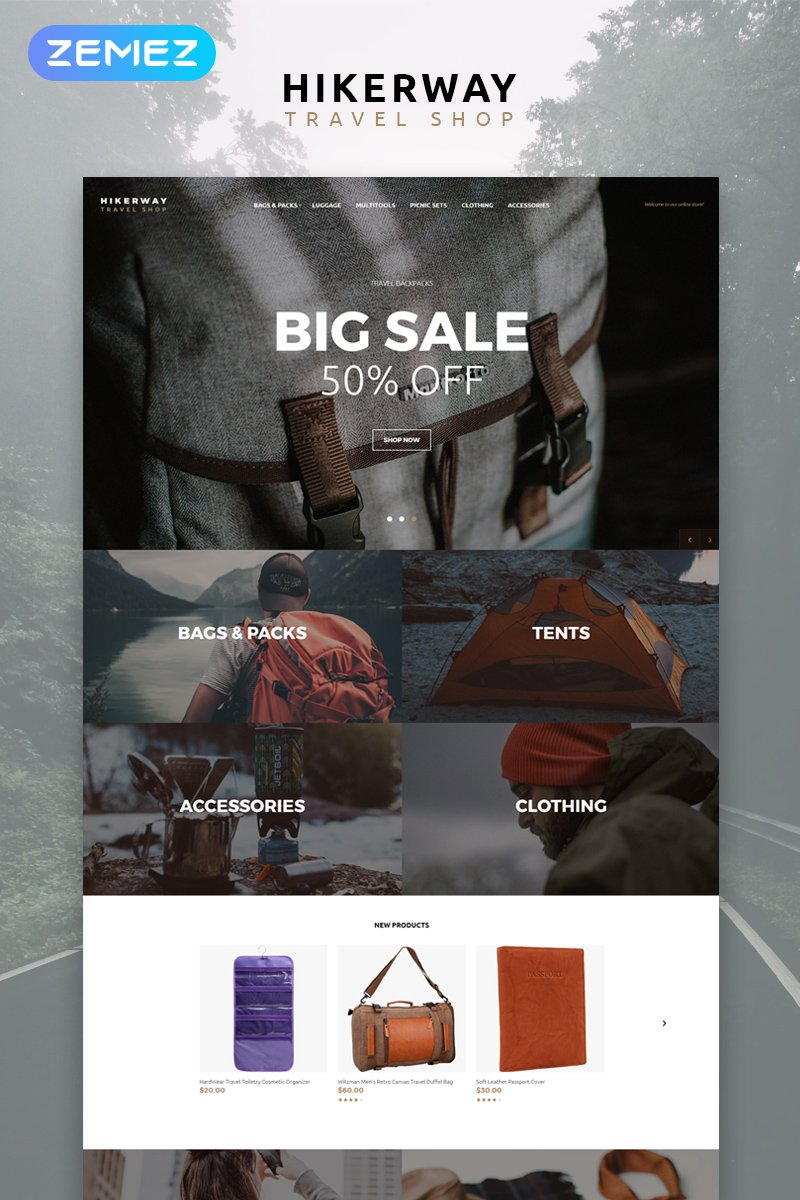 """Template OpenCart Responsive #79528 """"Hiker Way - Travel Store Multipage Modern"""""""