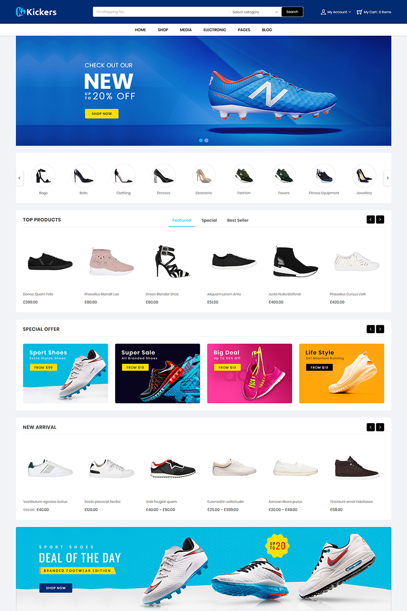 "Template WooCommerce Responsive #79582 ""Kickers Footwear"" - screenshot"