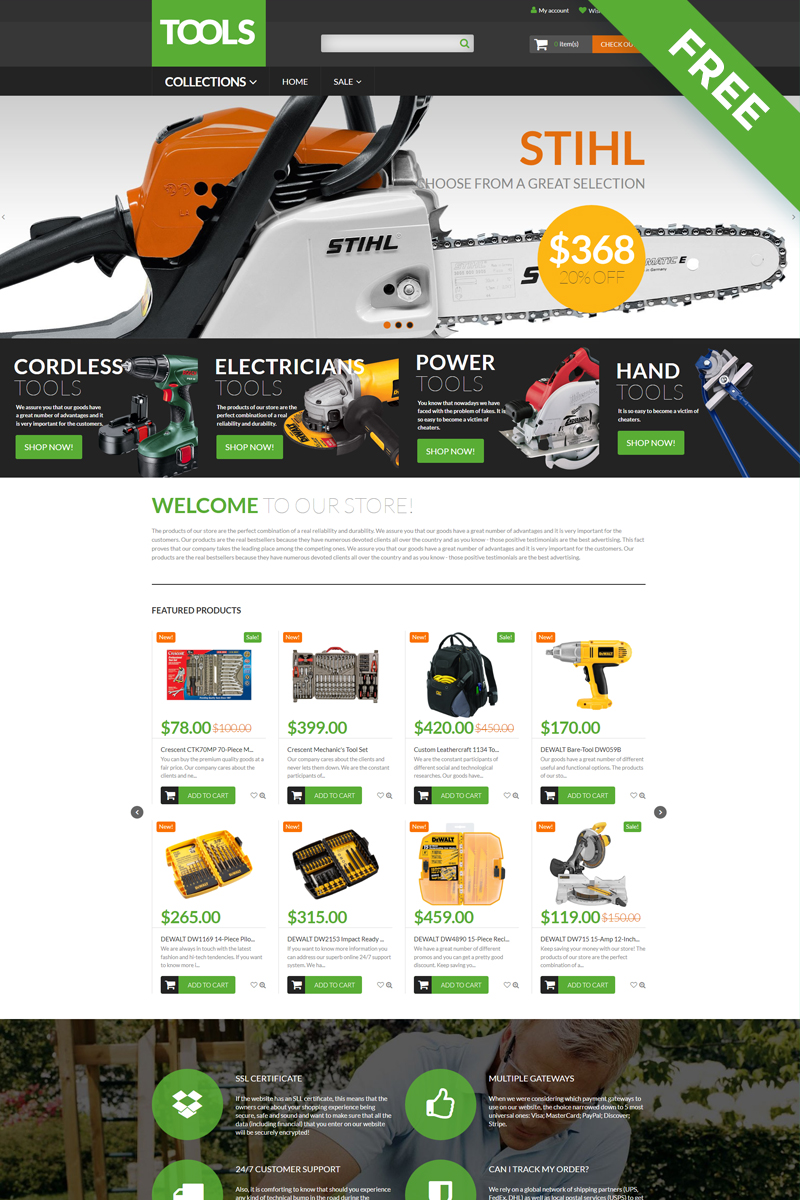 Tools - Tools & Equipment Free Clean Shopify Theme