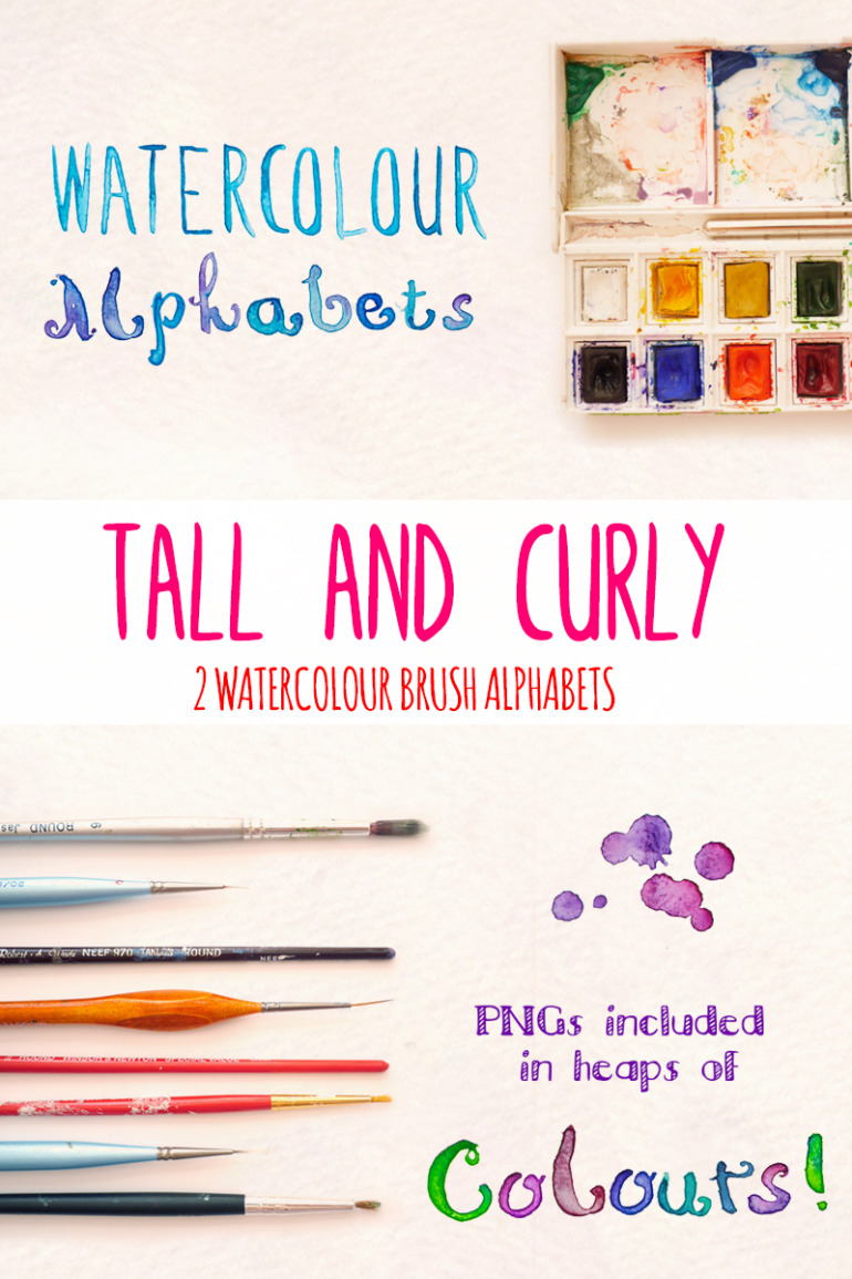 2 Hand Painted Alphabets - Photoshop Brush Scripts Illustration