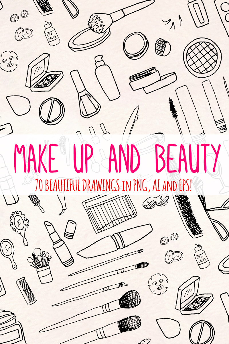 70 Cosmetics and Make Up Illustration