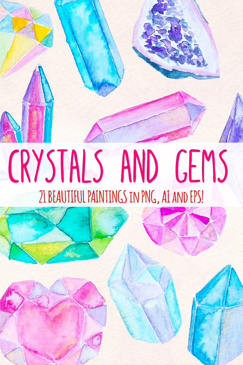 21 Crystals and Gems Illustration #79657