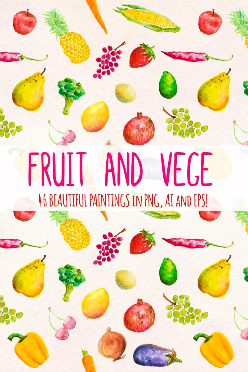 46 Hand Painted Fruits and Vegetable Açıklamalar #79666