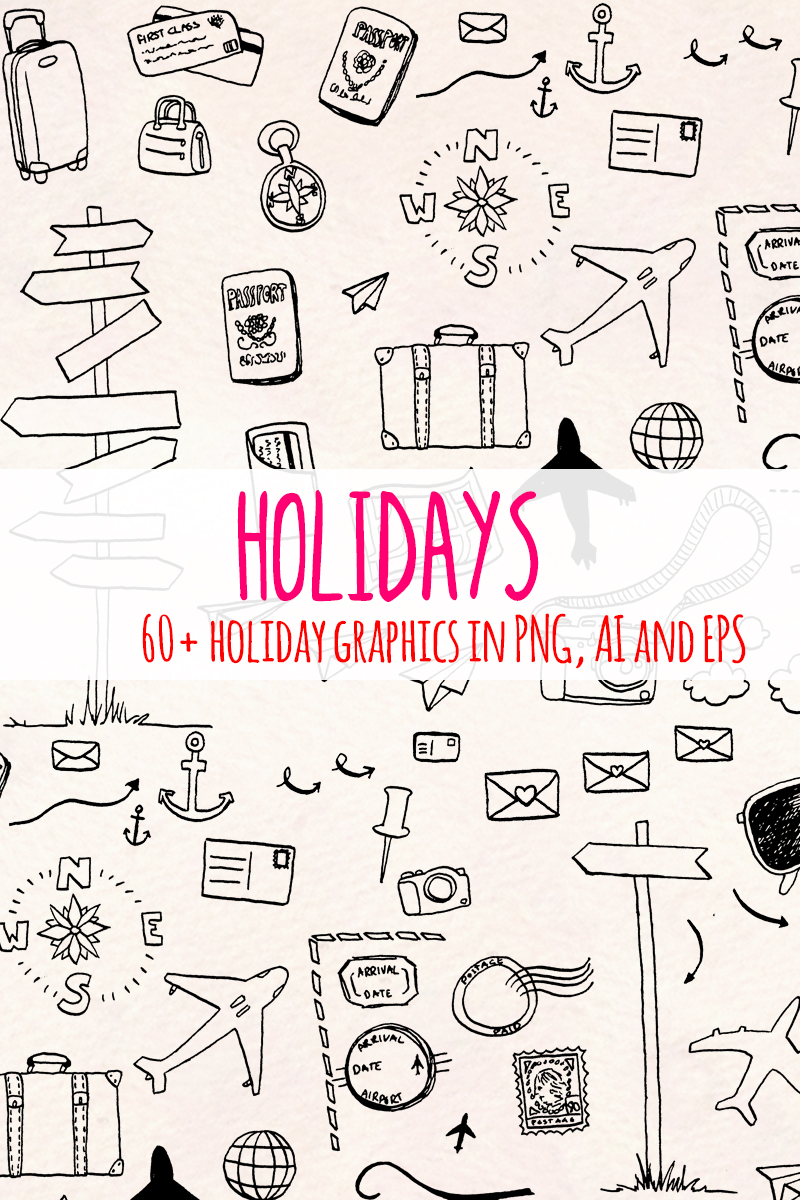64 Holiday and Travel Themed Illustration