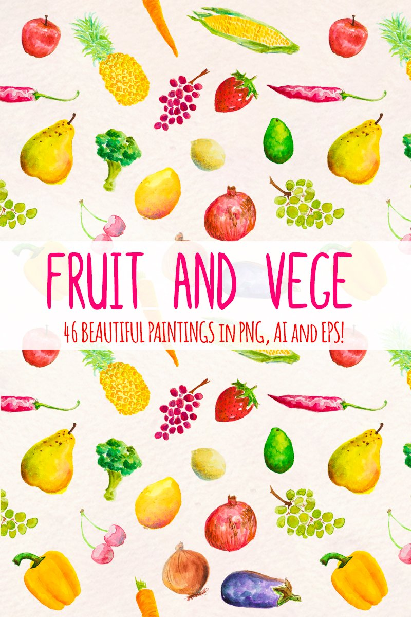 "Ilustrace ""46 Hand Painted Fruits and Vegetable"" #79666"