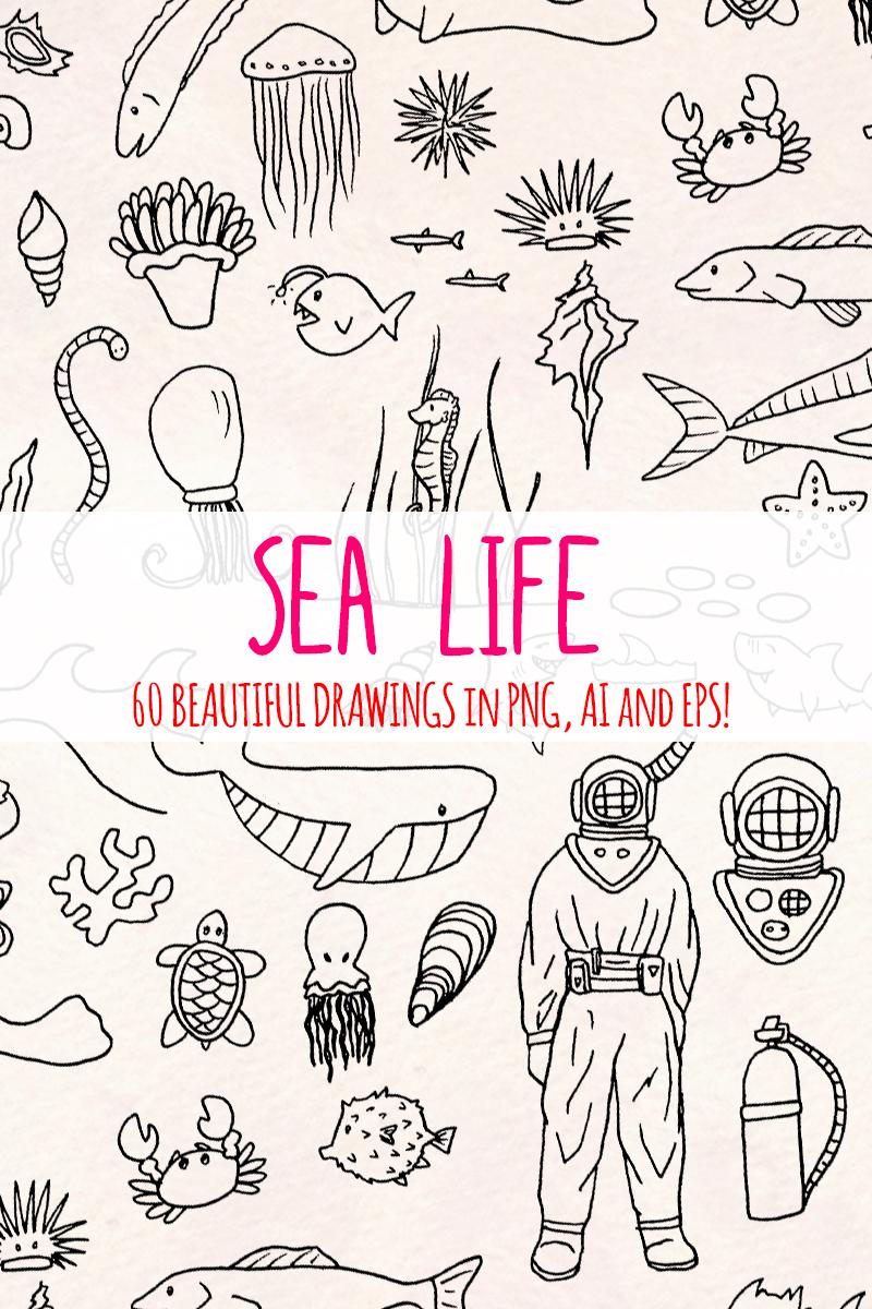 """Ilustración """"60 Sea and Ocean Creature"""" #79679"""
