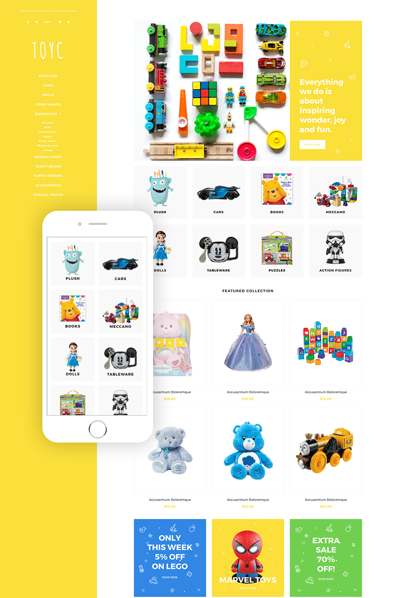 "Shopify Theme namens ""Toyc - Toy Store Clean"" #79634"