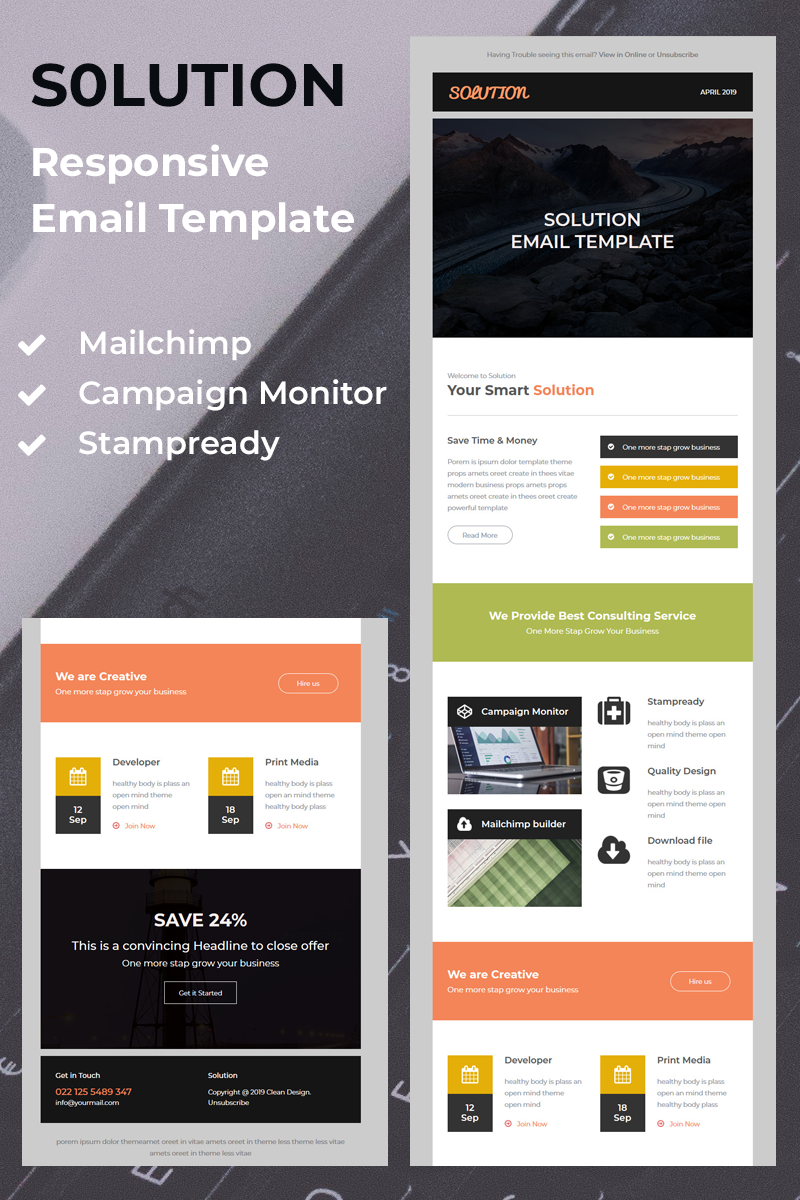Solution - Responsive Template de Newsletter №79630