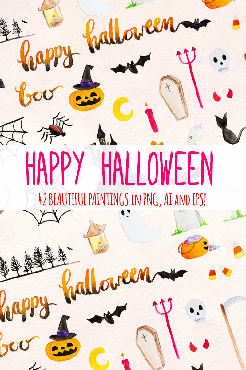 42 Spooky Halloween Elements Illustration