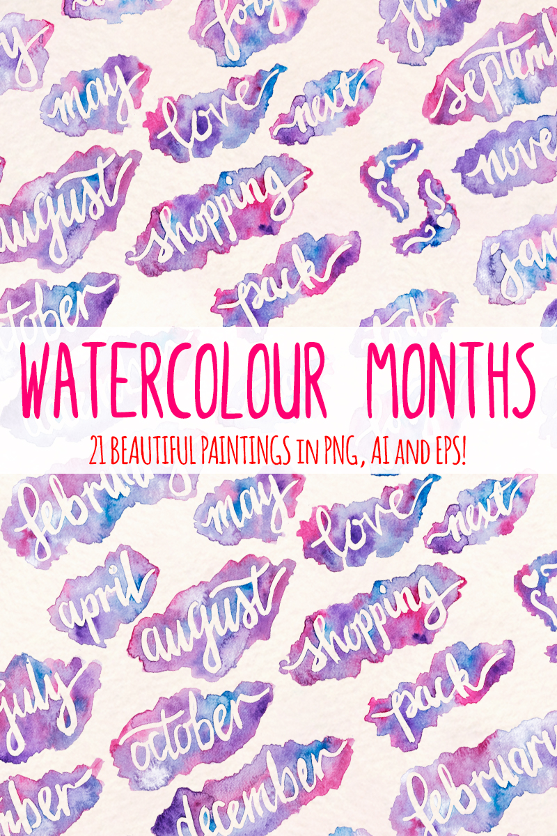 21 Watercolor Month Markers Illustration
