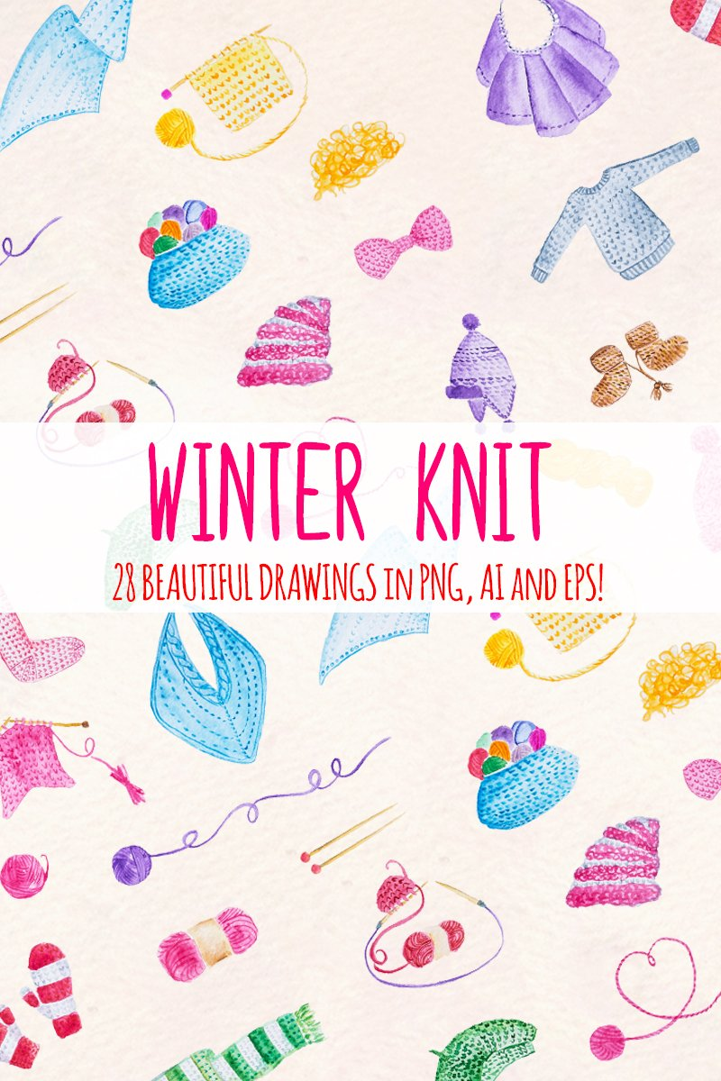 28 Winter Knitted Illustration #79672