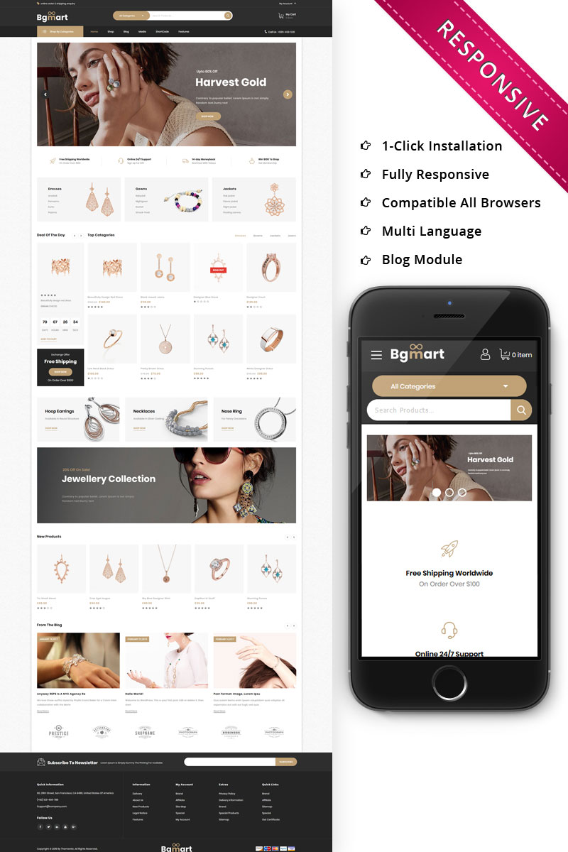 """Bgmart - The Jewellery Store Responsive"" thème WooCommerce adaptatif #79775"