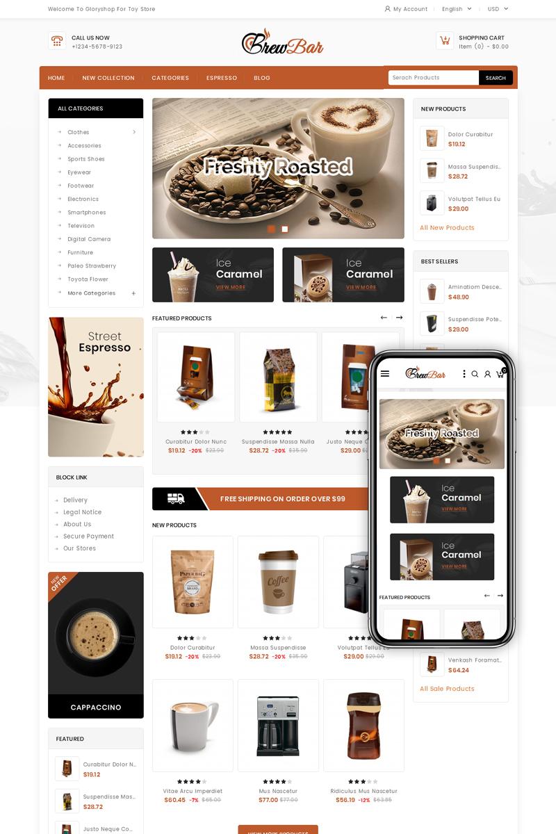 """BrewBar - Coffee Shop"" PrestaShop模板 #79762"