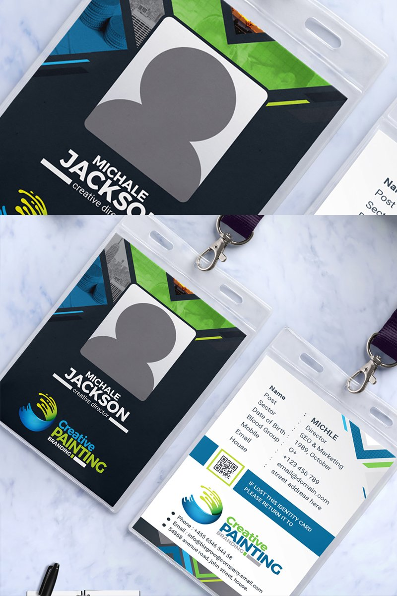 Company Employee Id Badge Corporate Identity Template