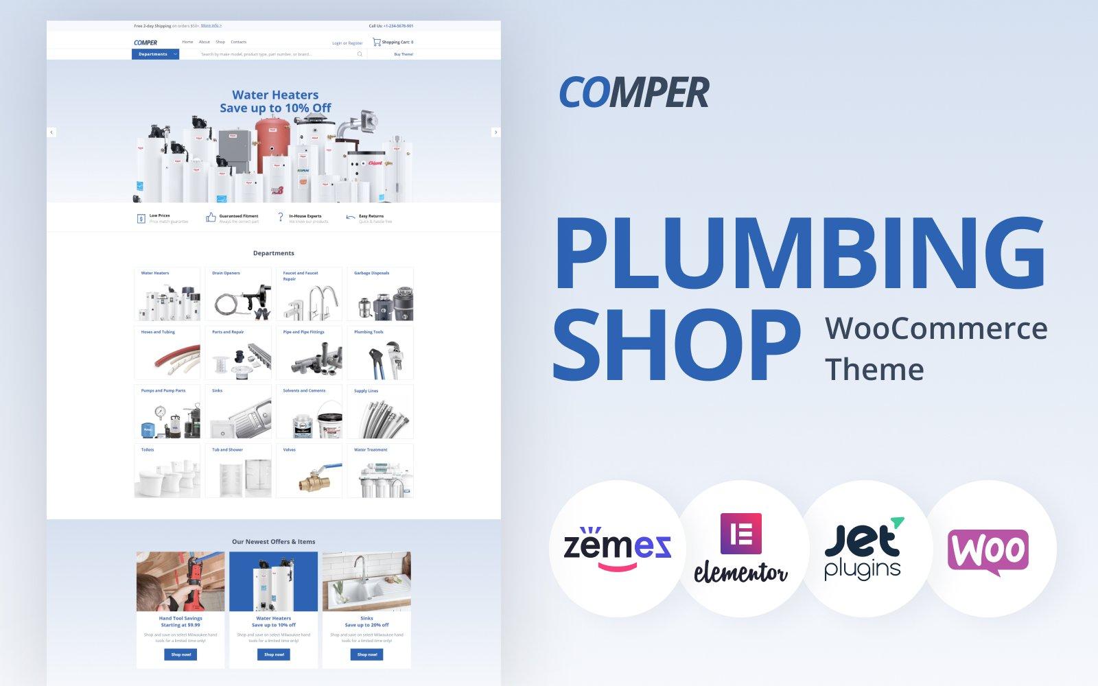 """""""Comper - Plumbing ECommerce Classic Elementor"""" - адаптивний WooCommerce шаблон №79791"""
