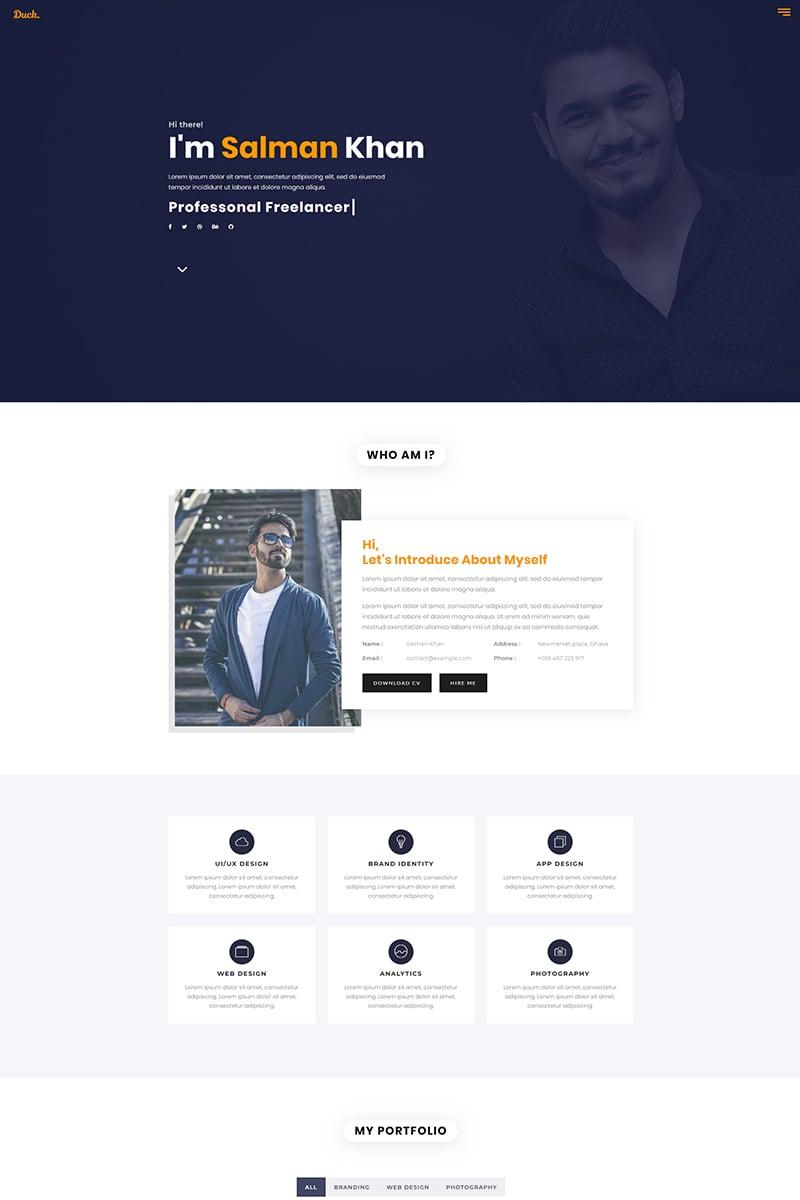Duck - Personal Portfolio Landing Page Template