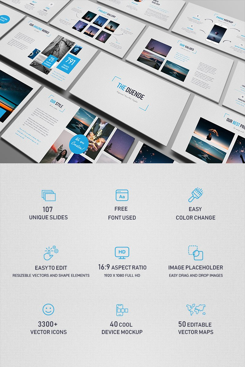 """Duende Light"" PowerPoint Template №79725"