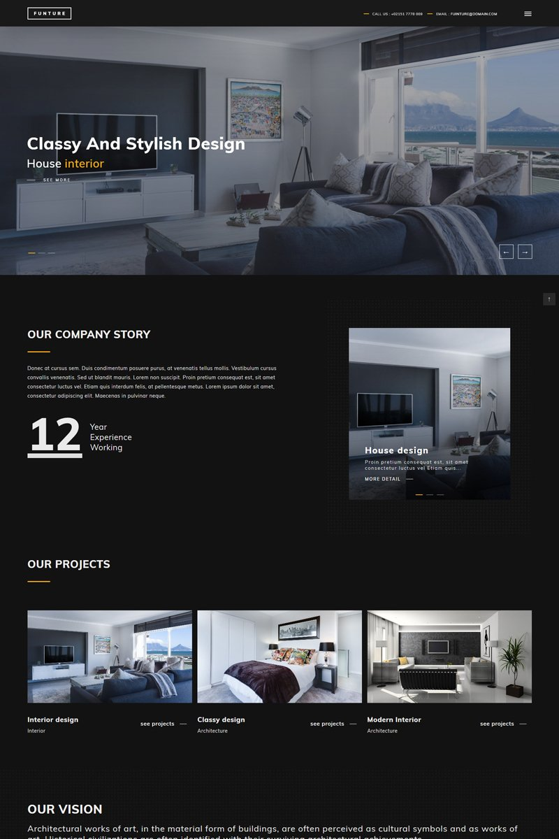 """FUNTURE - Interactive Architecture"" Responsive Website template №79756"