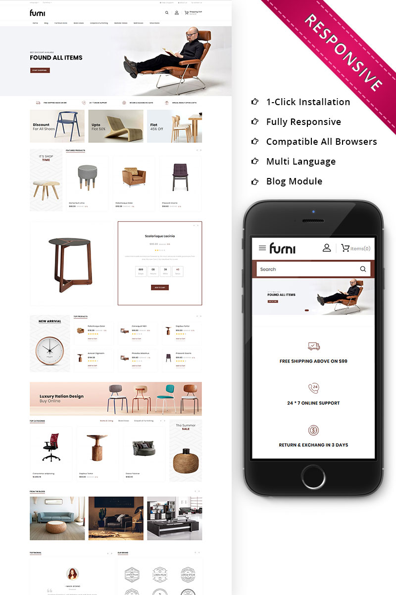 Furni - The Furniture Store Responsive OpenCart-mall #79702