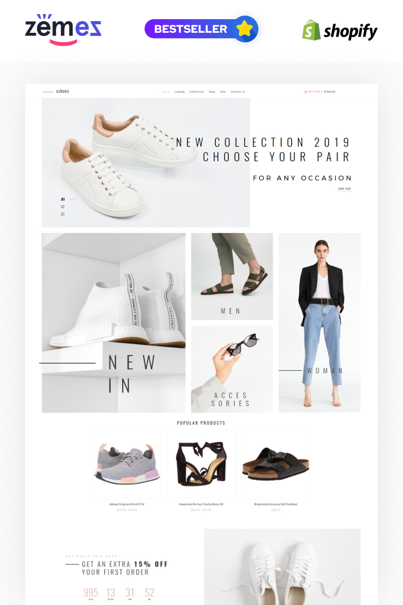 """Modello Shopify Responsive #79757 """"sshoes - Shoe Store Clean"""""""
