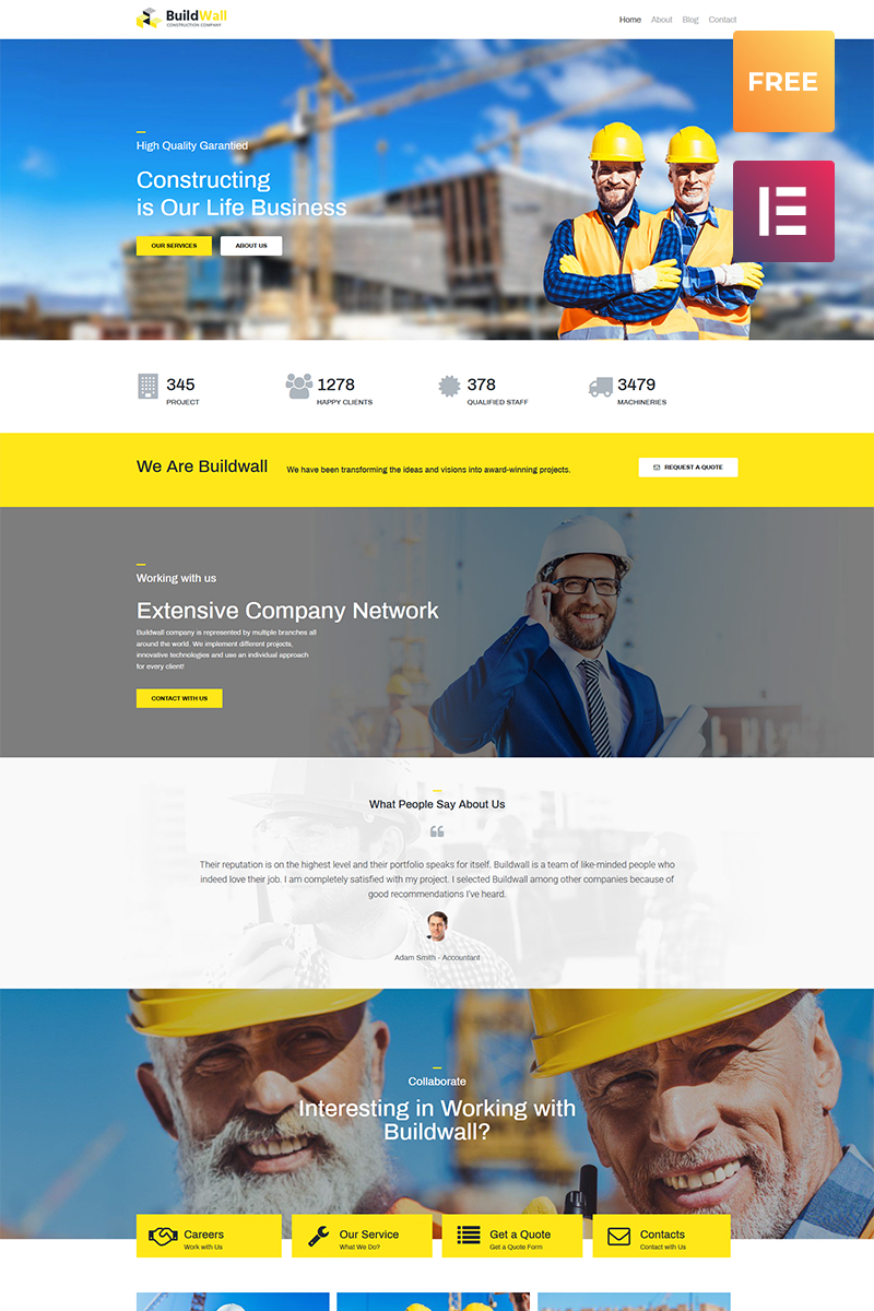 Responsive BuildWall Lite - Construction Company Elementor WordPress Theme #79737
