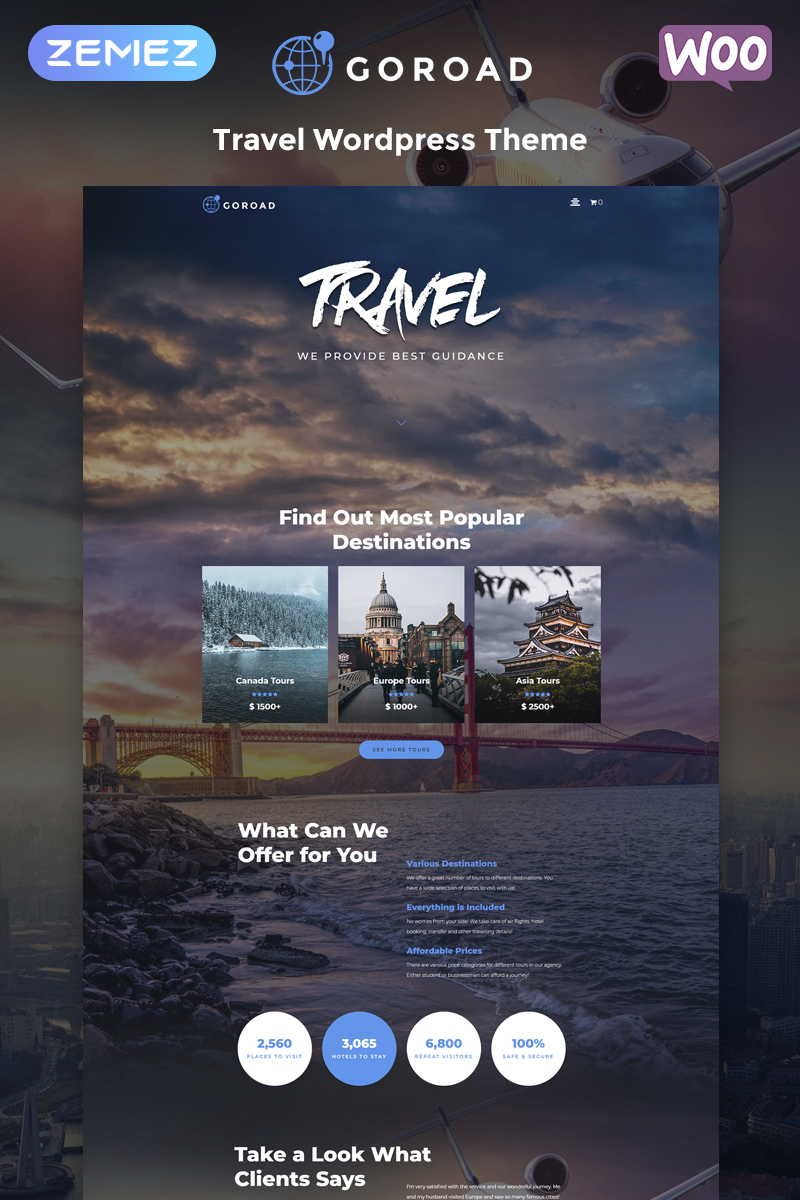 Responsywny motyw WordPress Goroad - Travel Agency Multipurpose Modern Elementor #79753