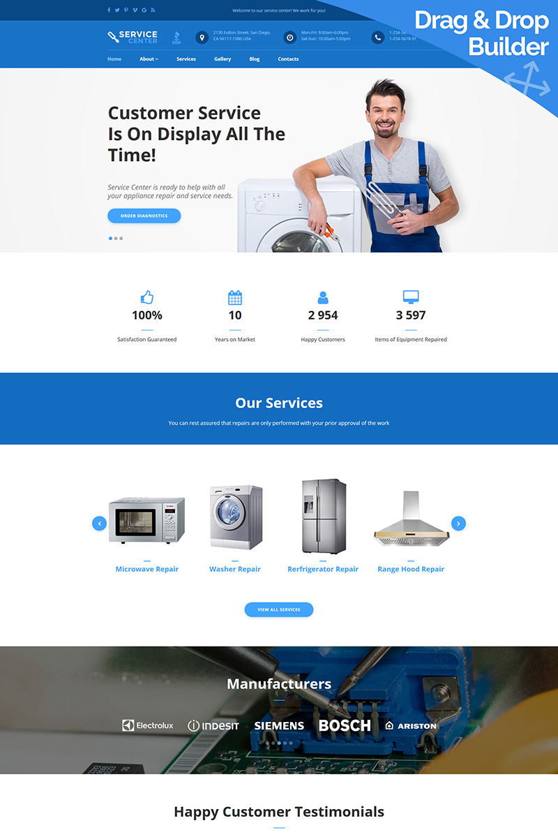 Service Center - Appliance Repair Moto CMS 3 Template