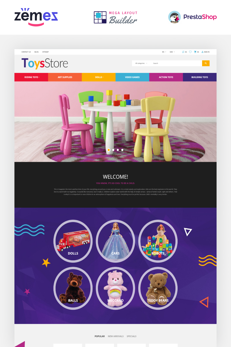 "Tema De PrestaShop ""ToysStore - Kids Play Games Store Clean Bootstrap"" #79730"