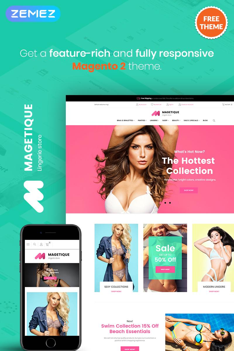 """Tema Magento """"Magetique Lingerie - FREE eCommerce Magento 2 Theme"""" #79774 - captura de pantalla"""