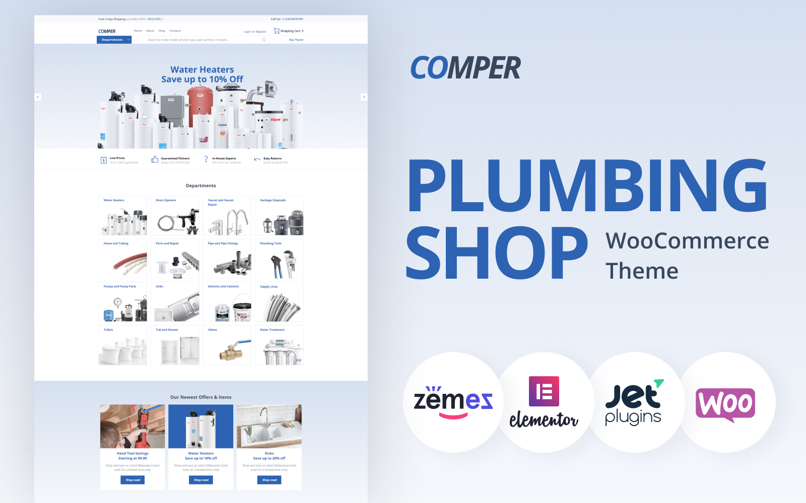 """Tema WooCommerce """"Comper - Plumbing ECommerce Classic Elementor"""" #79791"""