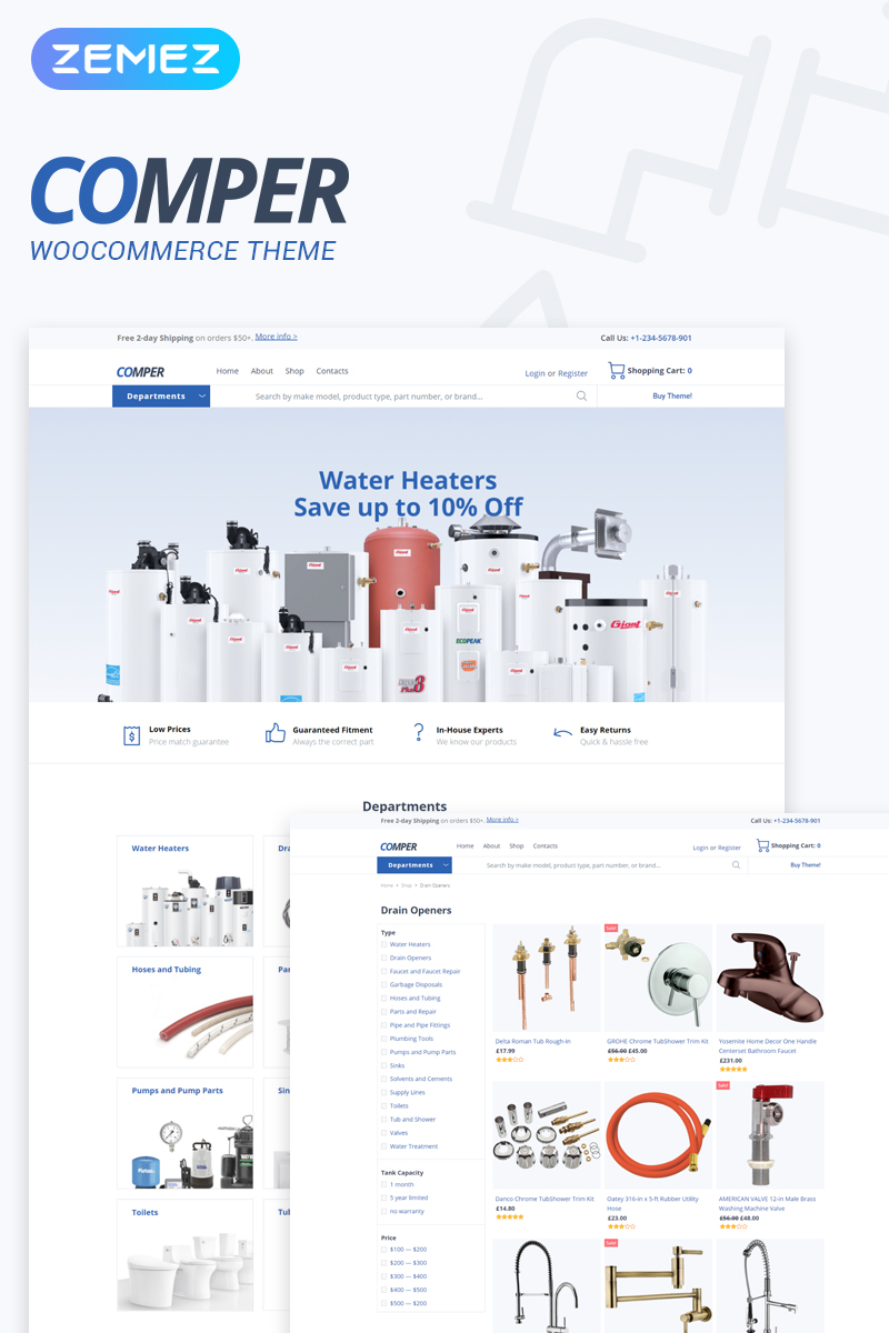 "Tema WooCommerce Responsive #79791 ""Comper - Plumbing ECommerce Classic Elementor"""