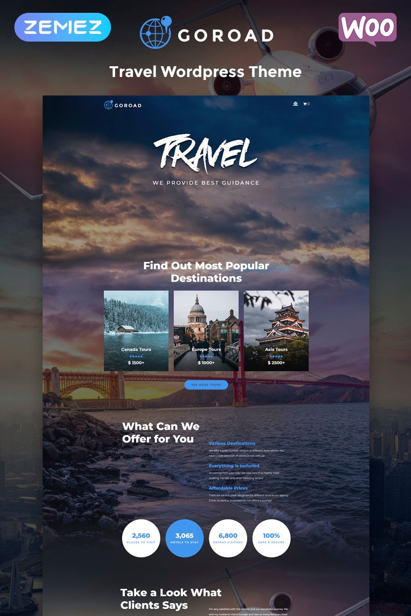 "Template WordPress Responsive #79753 ""Goroad - Travel Agency Multipurpose Modern Elementor"""