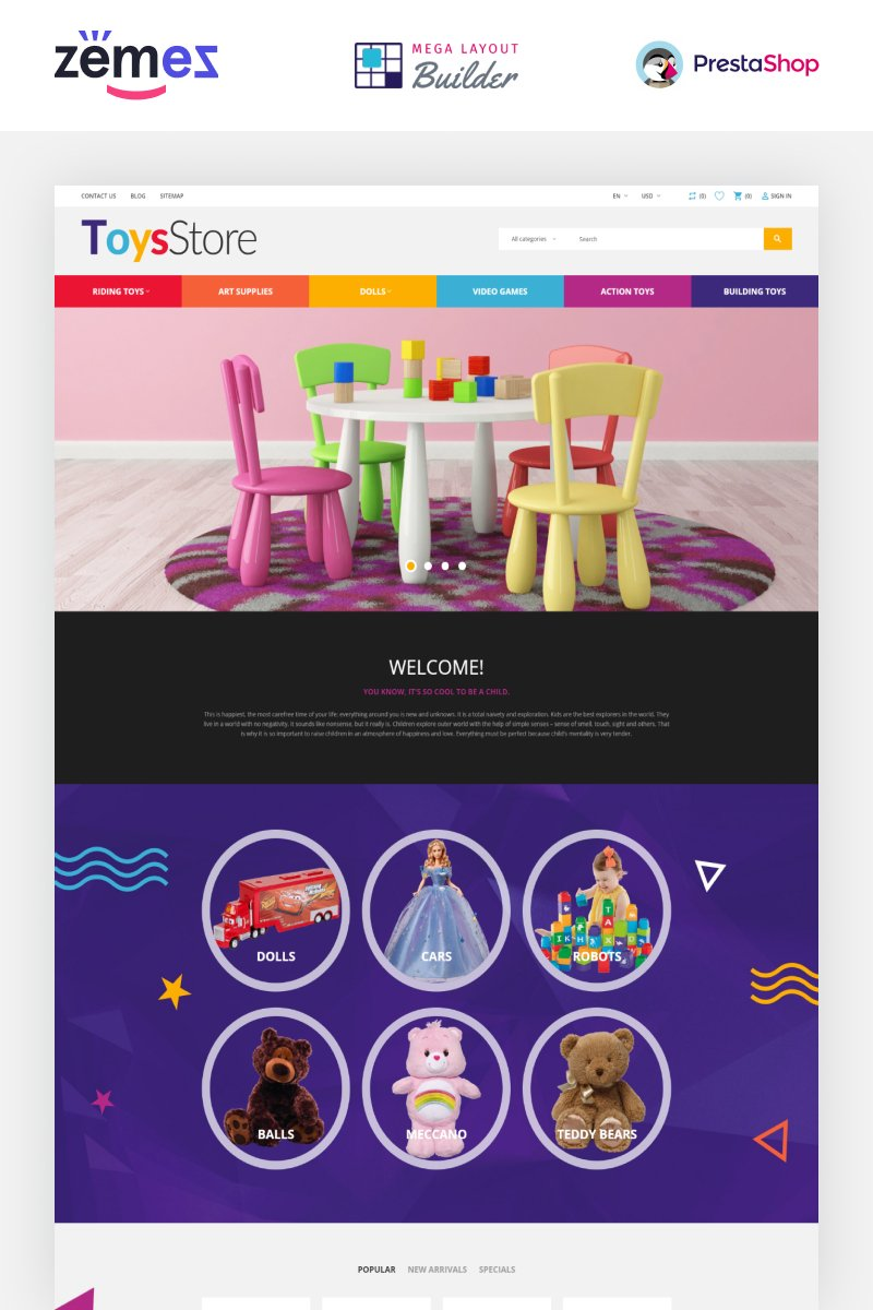 """ToysStore - Kids Play Games Store Clean Bootstrap"" 响应式PrestaShop模板 #79730"