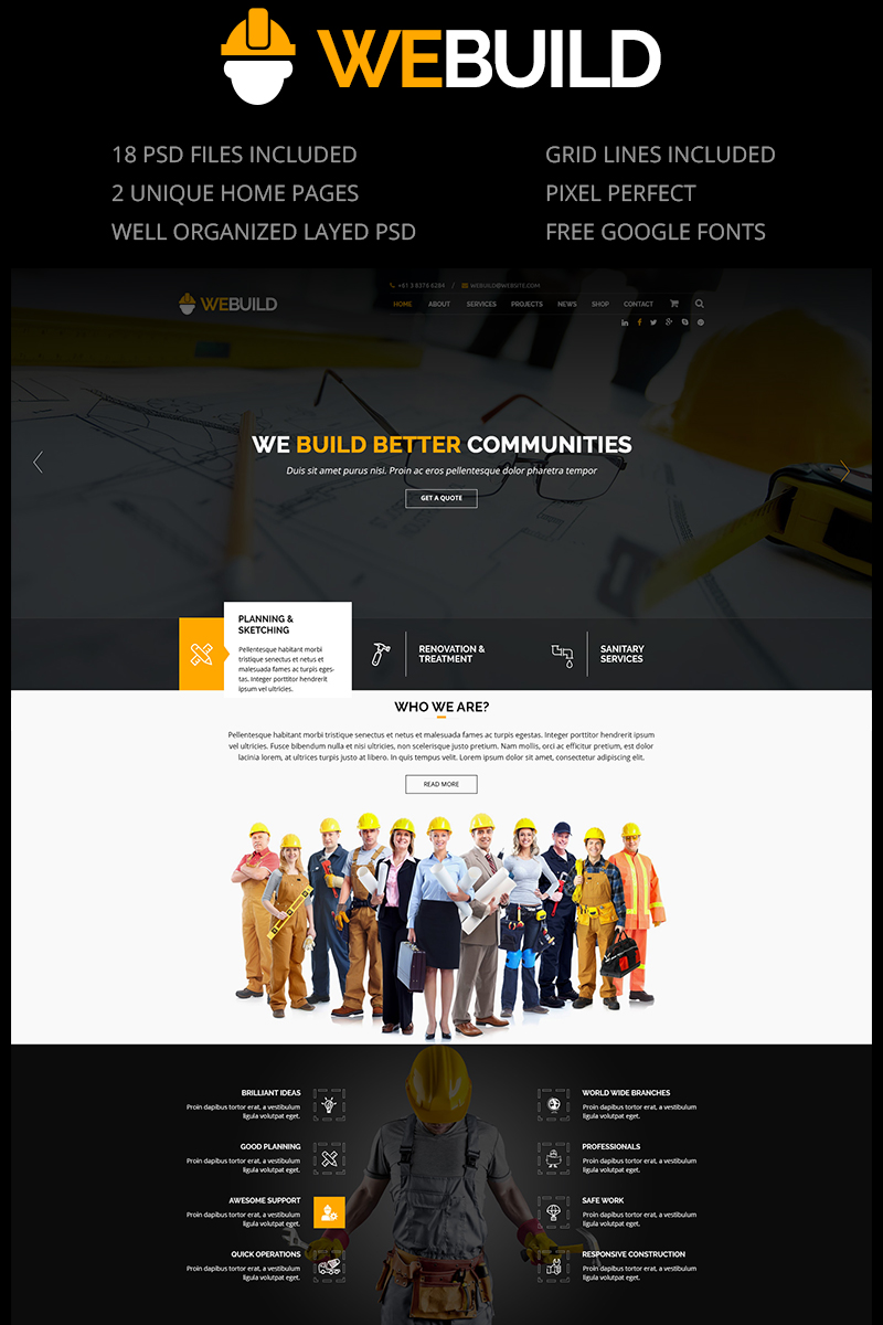 WEBUILD - Construction & Building PSD Template